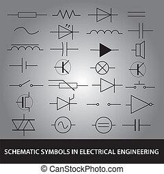 satz, eps10, symbole, technik, elektrisch, schematisch, ikone