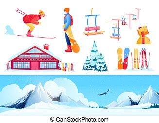 satz, fahren ski zuflucht
