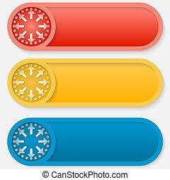 satz, gefärbt, abstrakt, pfeile, drei, vektor, taste