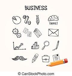 satz, geschäfts-ikon, hand, vektor, gezeichnet, doodles