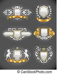 satz, gold, weinlese, ritterwappen, embleme, silber