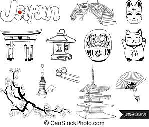 satz, grobdarstellung, japanisches , vektor, zeichnungen, doodles.