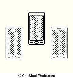 satz, grobdarstellung, smartphone