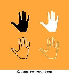 satz, hand, schwarz, menschliche , weißes, icon.
