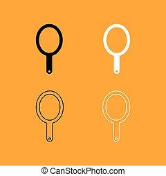satz, hand, schwarz, spiegel, weißes, icon.