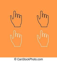 satz, hand, schwarz, weißes, pixel, ikone