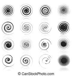 satz, heiligenbilder, abbildung, spirals., vektor, schwarz