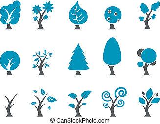 satz, ikone, bäume
