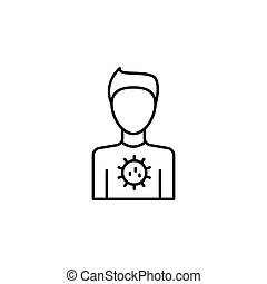 satz, ikone, wasser, menschliche , wohnung, vektor, virus