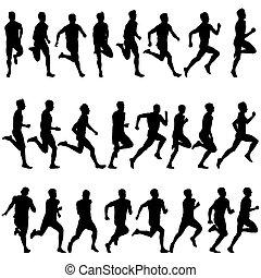 satz, illustration., silhouettes., men., vektor, läufer, sprint