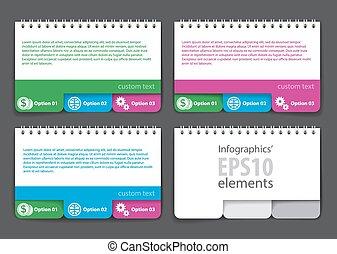 satz, jotter, form, vorsprünge, elemente, infographics