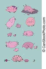 satz, karikatur, reizend, tiere, bauernhof, pigs.