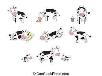 satz, karikatur, reizend, tiere, cow., bauernhof
