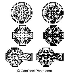 satz, keltisch, feier, irland, st, vektor, irisch, tag, design, kreuz, -, patrick's