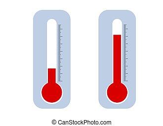 satz, oder, temperatur, freien thermometer, innen, niedrig, hoch, abbildung
