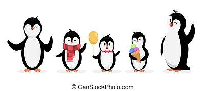 satz, pinguin, pinguine, freigestellt, tiere, zeichen, family., weißes, hintergrund., vektor, glücklich, reizend, karikatur