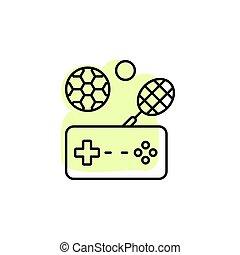 satz, schatten, sport, vektor, farbe, controller, ikone, spiel, esport, spiel