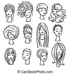 satz, styling, ladys, haarschnitte
