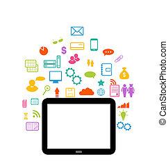 satz, tablette, virtuell, element, infographic, edv, welt