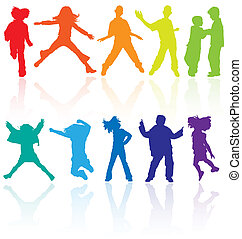 satz, tanzen, gefärbt, reflexion., teenager, springende , silhouetten, vektor, posierend
