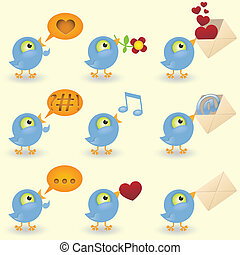 satz, vögel, karikatur, ikone
