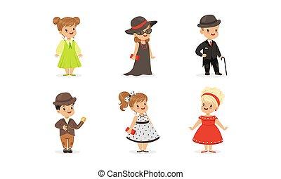 satz, vektor, elegant, tragen, kleidung, ausrüstung, wenig, kinder