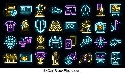 satz, vektor, heiligenbilder, neon, fußball