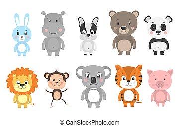 satz, vektor, karikatur, animals., abbildung