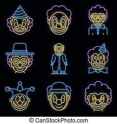 satz, vektor, neon, clown, heiligenbilder