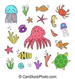satz, vektor, tiere, abbildung, underwater