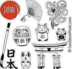 satz, word., japanisches schreiben, vektor, schwarz, bürste, weißes, doodles