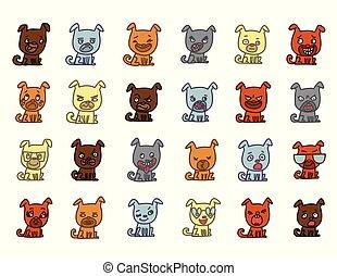 satz, zeichen, abbildung, gesicht, expressions., vektor, verschieden, hintergrund, weißes, hunden, karikatur