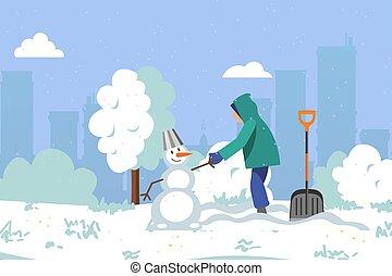sauber, machen, stil, schneefall, hell, kinder, design, winter, karikatur, park, ungefähr, schöne , illustration., schneemann, schnee, los
