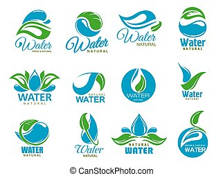 Saubere Wasser Icons mit blauen Tropfen und grünem Blatt