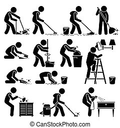 Sauberere Reinigung und Waschhaus.