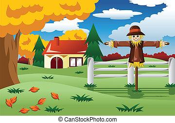 Scarecrow in der Herbstsaison.