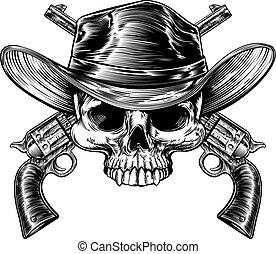 Schädel-Cowboy und Waffen.