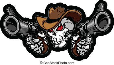 Schädel-Cowboy zielt auf Waffen