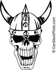 Schädel im Helm Wikinger