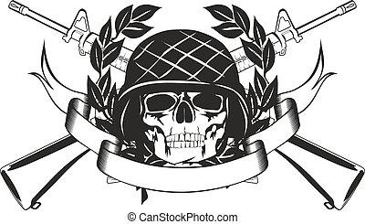 Schädel im Militärhelm