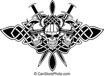 Schädel in Helmen und keltischen Mustern