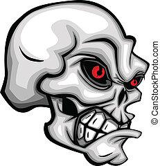 Schädel-Karikatur mit roten Augen