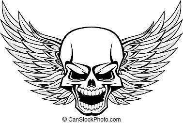 Schädel mit Flügeln