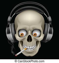 Schädel mit Kopfhörern mit einer Zigarette