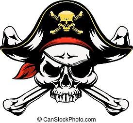 Schädel und gekreuzte Knochen Pirat.