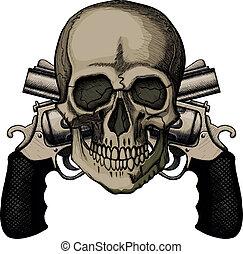 Schädel und zwei gekreuzte Revolver