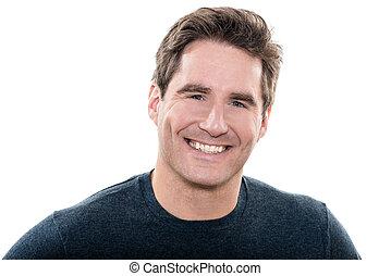 Schön aussehender Mann, blaue Augen lächelndes Portrait.