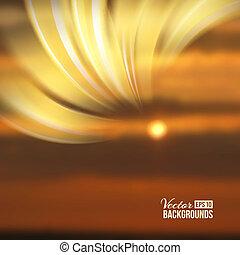 Schöne abstrakte Lichter über Sonnenuntergang verschwommenen Hintergrund.