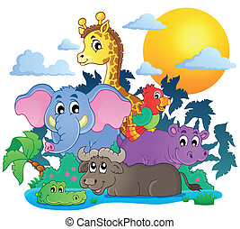 Schöne afrikanische Tiere Thema Bild 7.