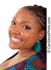 schöne , amerikanische frau, lächeln, afrikanisch